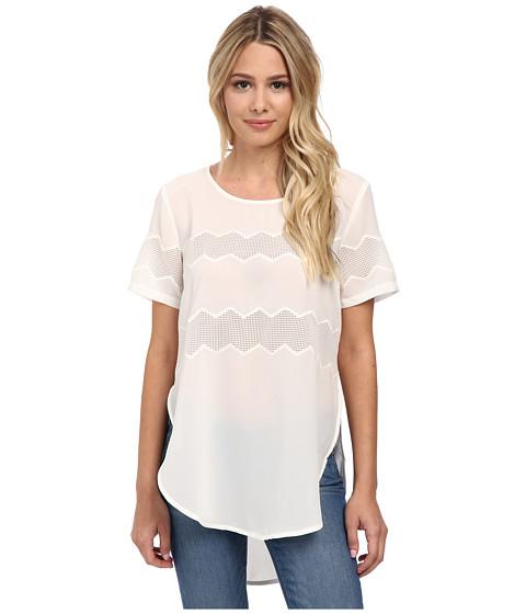 Gabriella Rocha - Julie Mesh Contrast Top (Off White) Women's Clothing