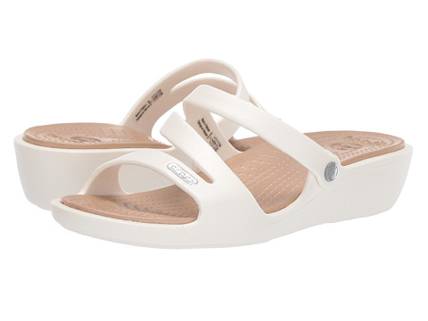 Crocs - Patricia (Oyster/Gold) Women's Wedge Shoes