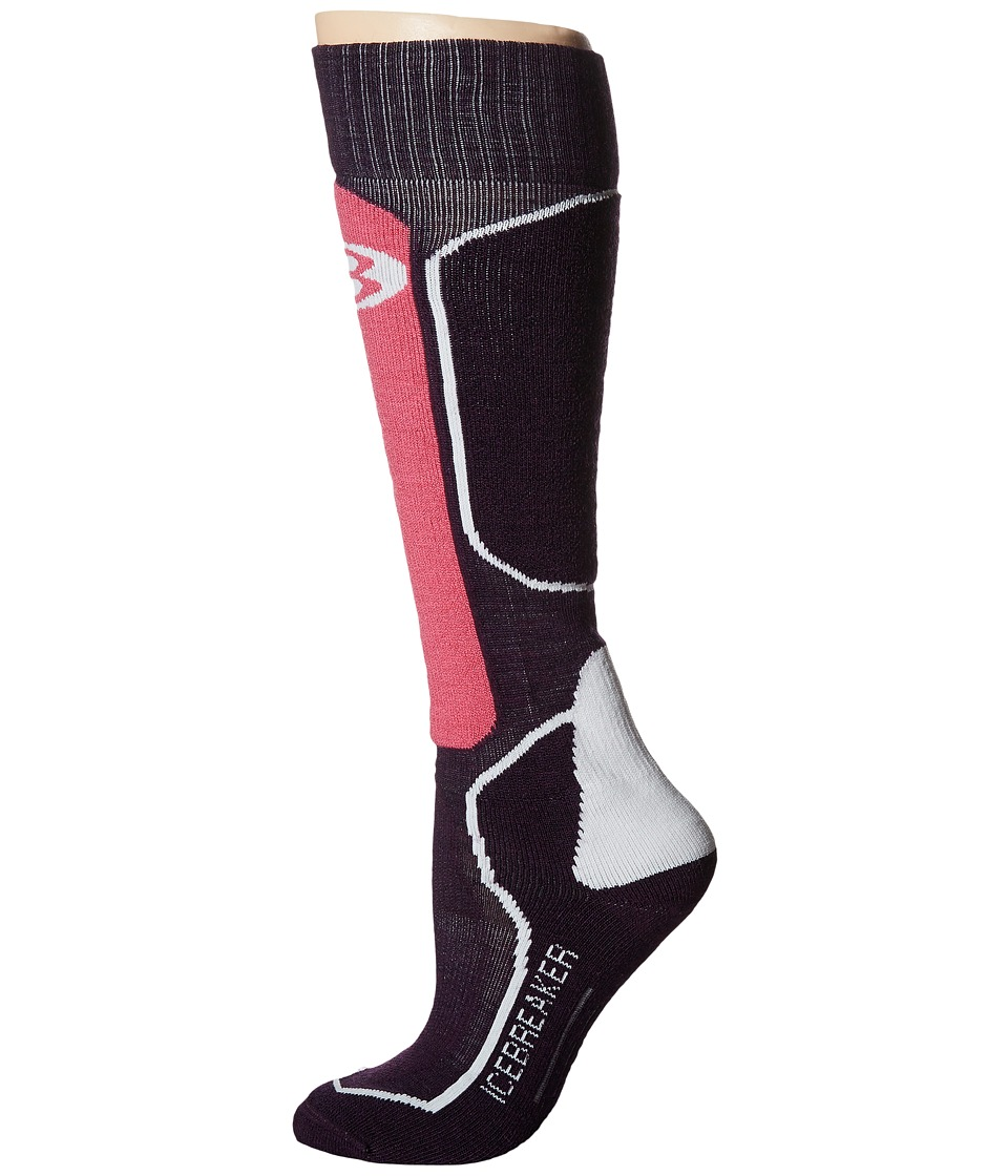 Icebreaker - Ski + Medium OTC 1-Pair Pack (Bordeaux Heather/Shocking/White) Women's Crew Cut Socks Shoes