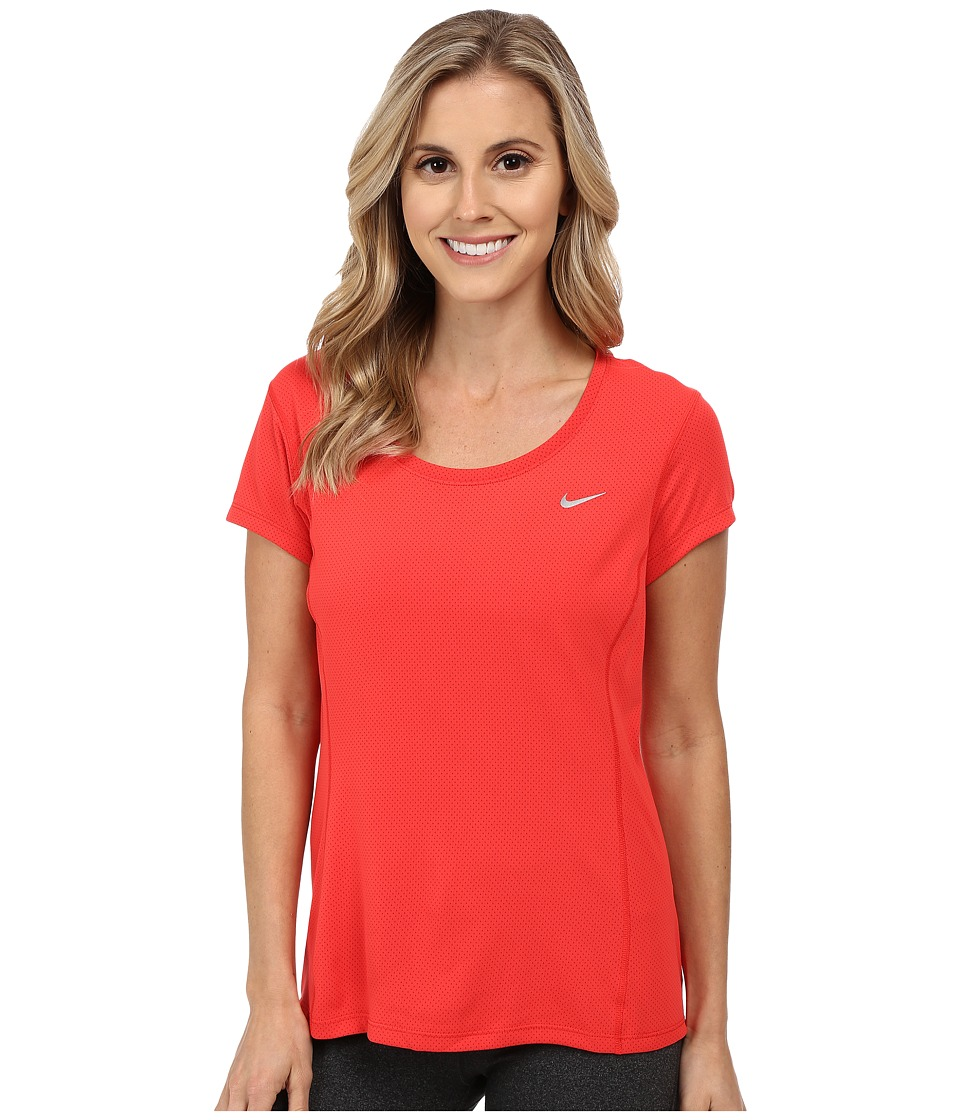 Nike - Dri-FIT Contour Short Sleeve (Light Crimson/Reflective Silver) Women's Short Sleeve Pullover