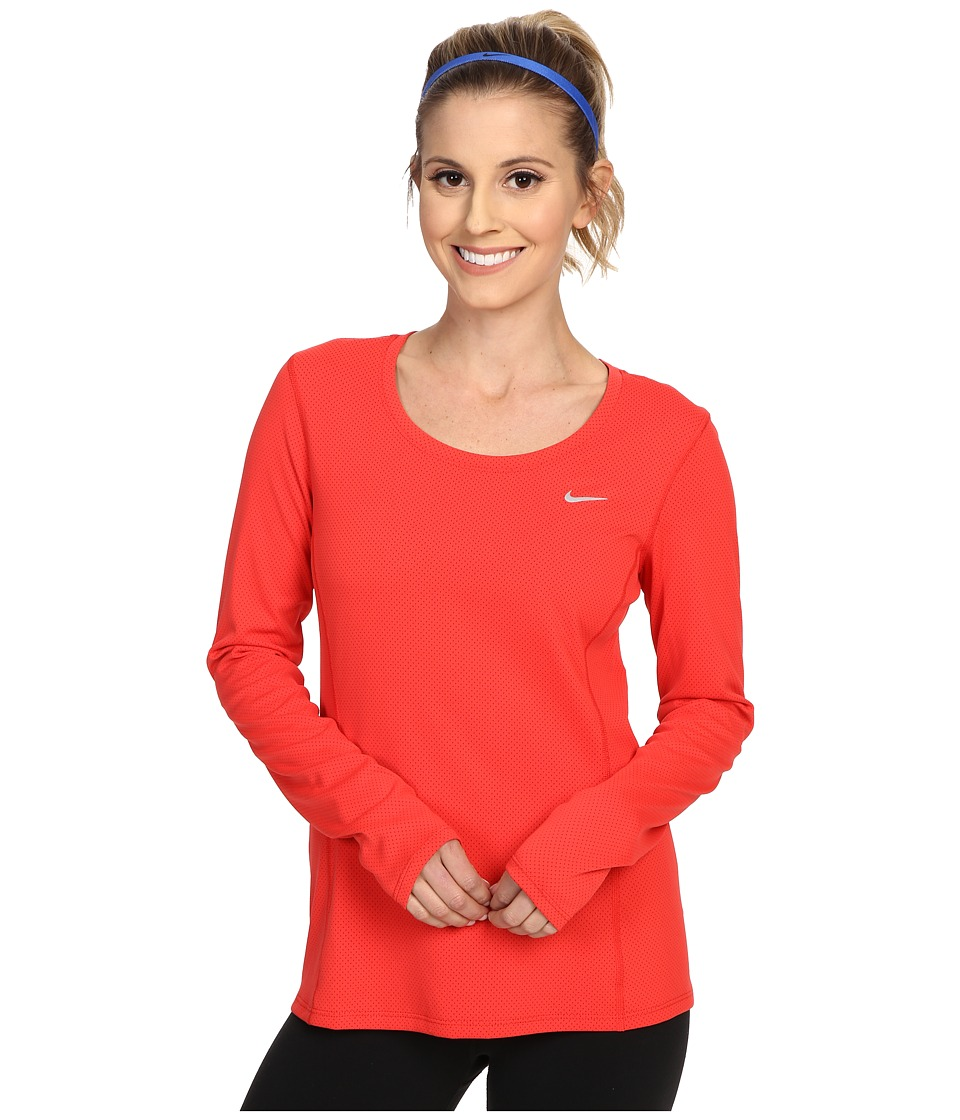 Nike - Dri-FIT Contour Long Sleeve (Light Crimson/Reflective Silver) Women's Clothing