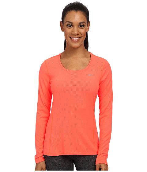 Nike - Dri-FIT Contour Long Sleeve (Hyper Orange/Reflective Silver) Women's Clothing