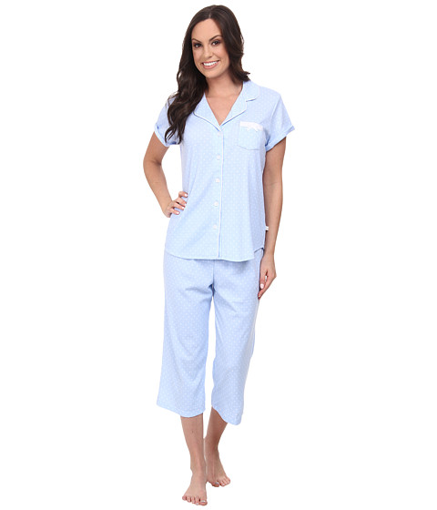Karen Neuburger - Sweet Life Short Sleeve Girlfriend Crop PJ (Dot/Powder Blue) Women's Pajama Sets