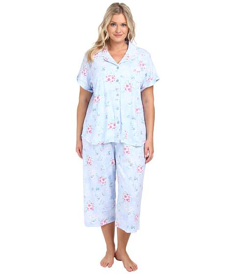 Karen Neuburger - Plus Size Sweet Life Short Sleeve Girlfriend Crop PJ (Floral/Powder Blue) Women's Pajama Sets