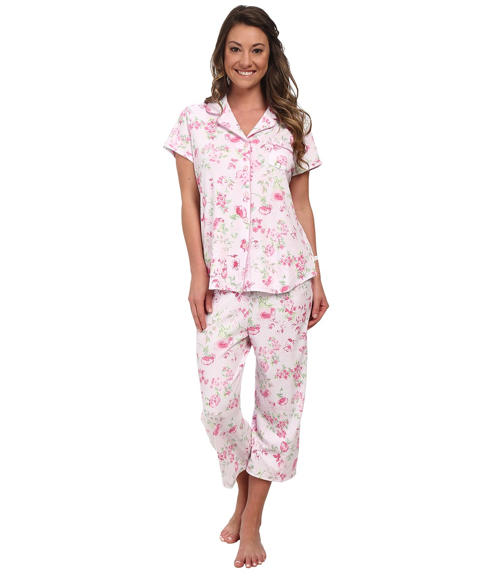Karen Neuburger - Muse Short Sleeve Girlfriend Crop PJ (Floral/Pink) Women's Pajama Sets