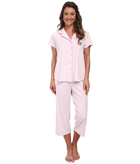 Karen Neuburger - Muse Short Sleeve Girlfriend Crop PJ (Gingham/Pink) Women's Pajama Sets