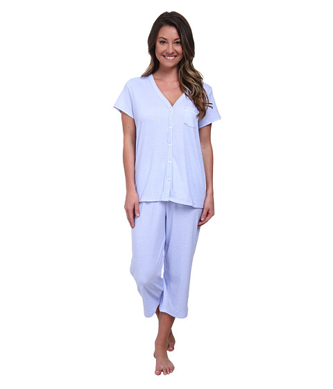 Karen Neuburger - Fresh Linen Short Sleeve Cardigan Crop PJ (Dot/Peri) Women's Pajama Sets