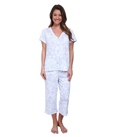 Karen Neuburger - Fresh Linen Short Sleeve Cardigan Crop PJ (Brocade/Peri) Women's Pajama Sets