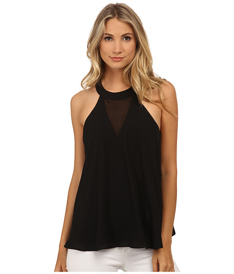 Sam Edelman - Chiffon Insert Halter Tank Top (Black) Women's Sleeveless