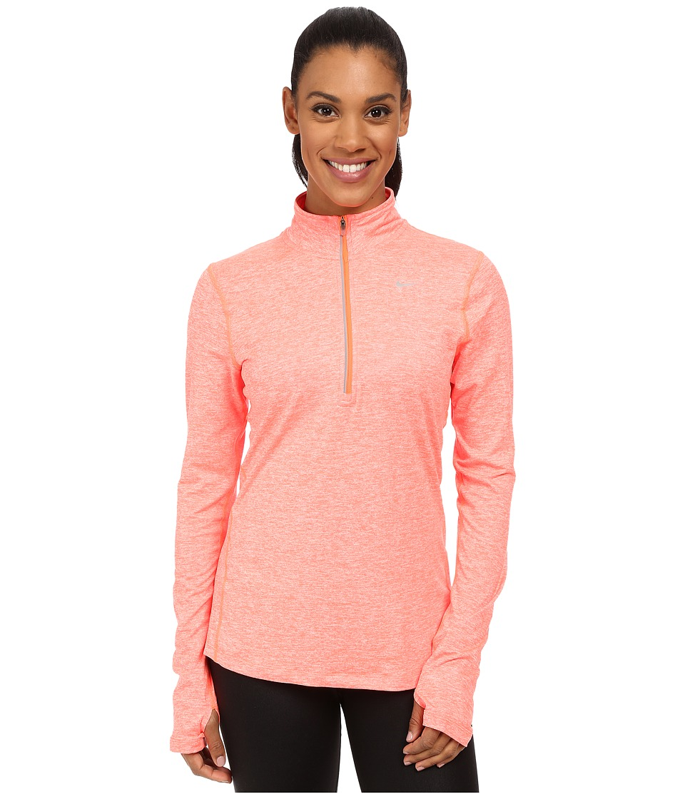 Nike - Dri-FIT Element Half Zip (Hyper Orange/Heather/Reflective Silver) Women's Long Sleeve Pullover