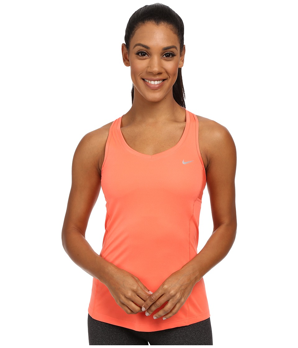 Nike - Dri-FIT Miler Tank Top (Light Wild Mango/Reflective Silver) Women's Sleeveless