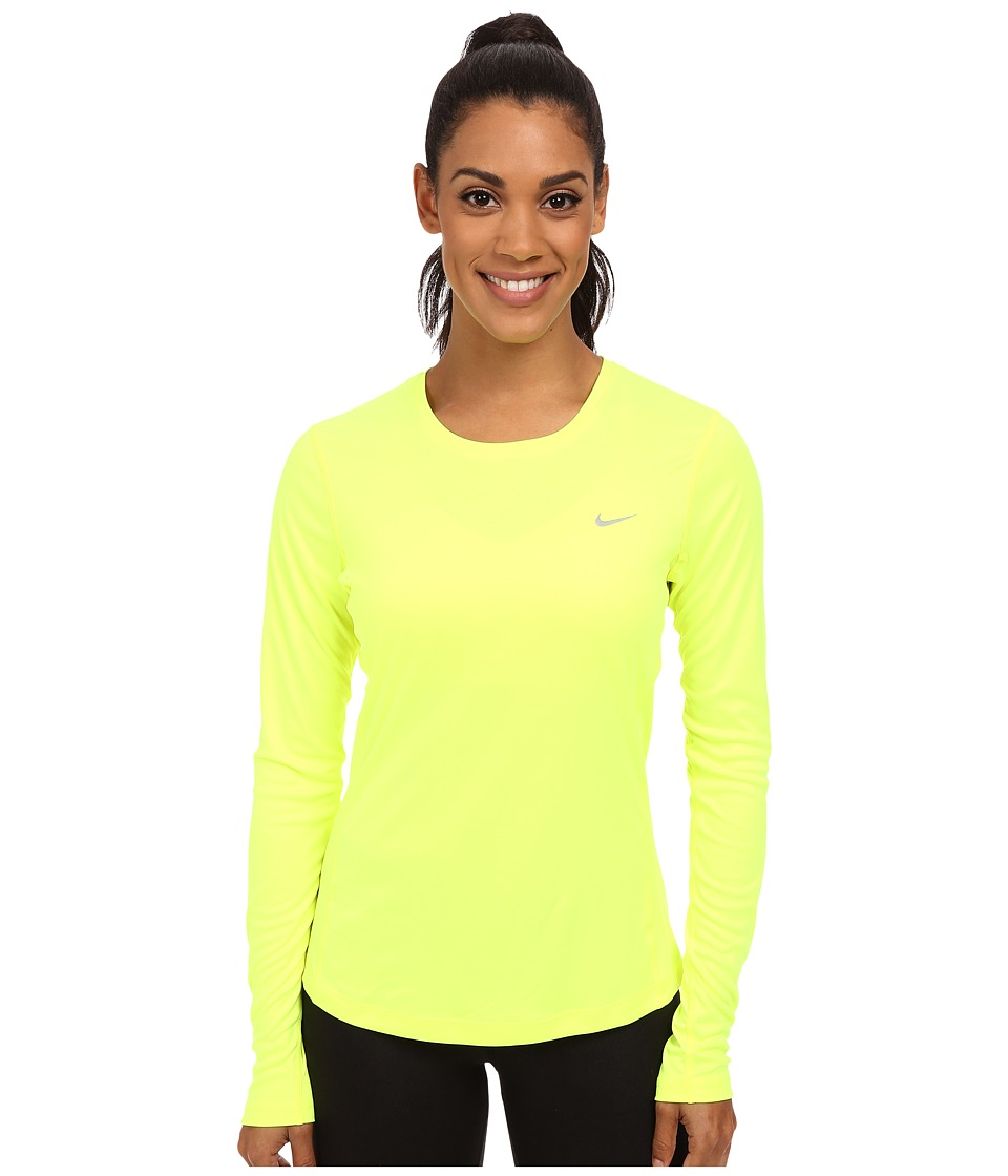 Nike - Dri-FIT Miler L/S Running Top (Volt/Reflective Silver) Women's Long Sleeve Pullover