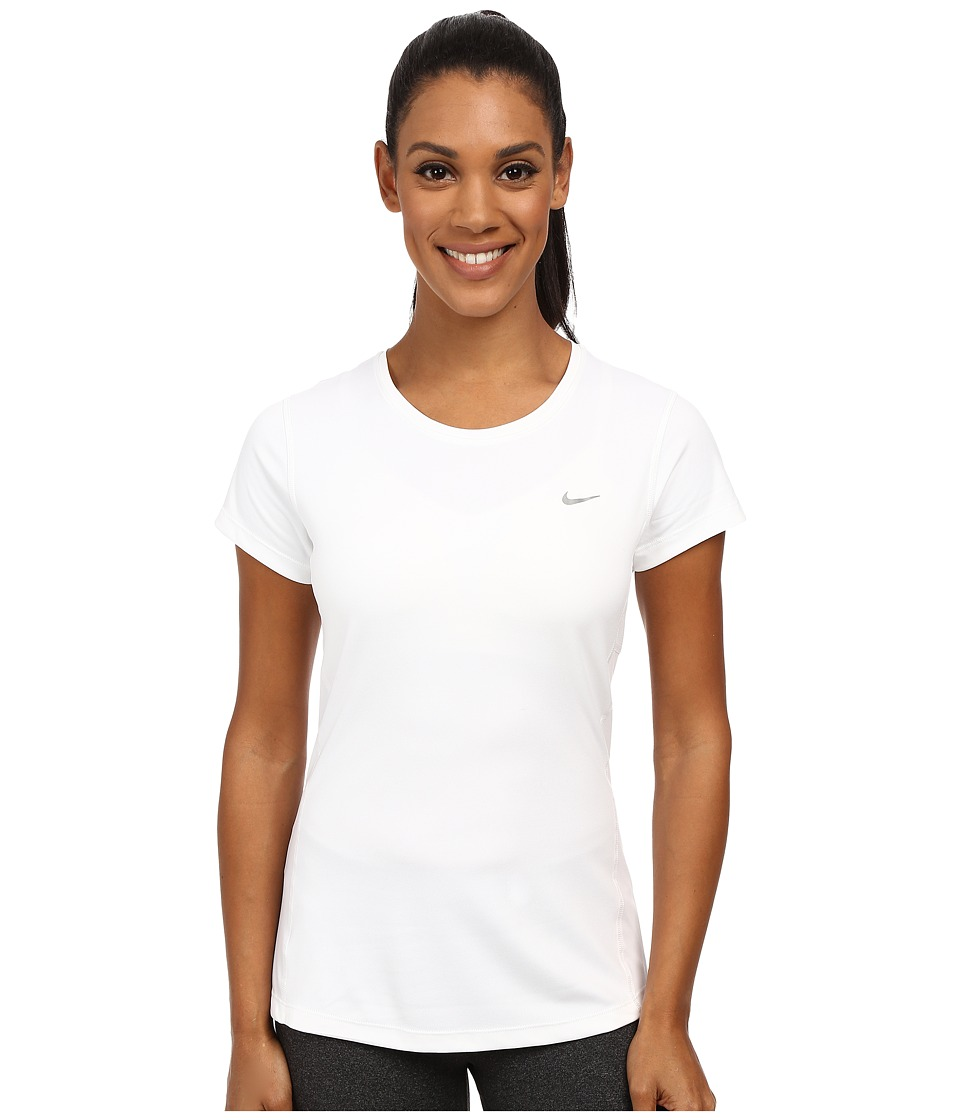 Nike - Dri-FITtm Miler Short Sleeve Top (White/Reflective Silver) Women's T Shirt