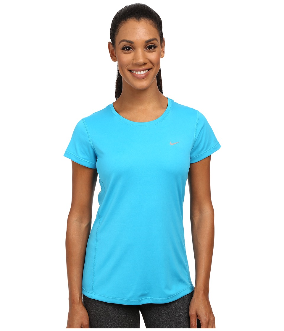 Nike - Dri-FIT Miler Short Sleeve Top (Blue Lagoon/Reflective Silver) Women's T Shirt