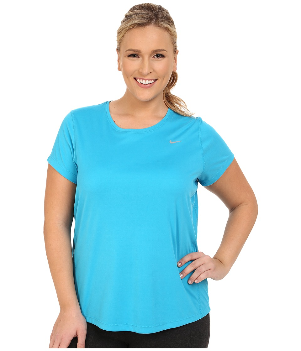 Nike - Miler Short-Sleeve Running Top (Size 1X-3X) (Blue Lagoon/Reflective Silver) Women's T Shirt