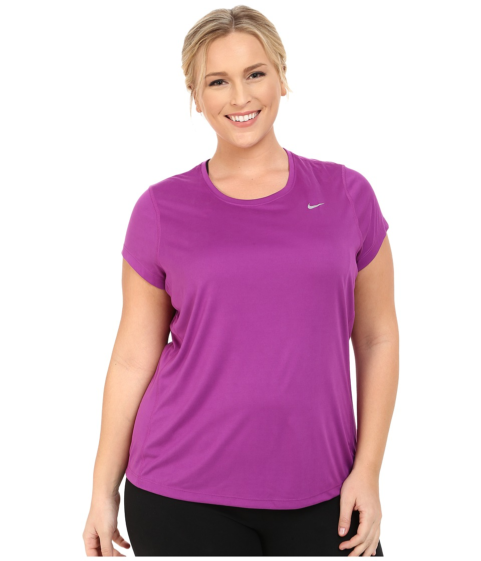 Nike - Miler Short-Sleeve Running Top (Size 1X-3X) (Purple Dusk/Reflective Silver) Women