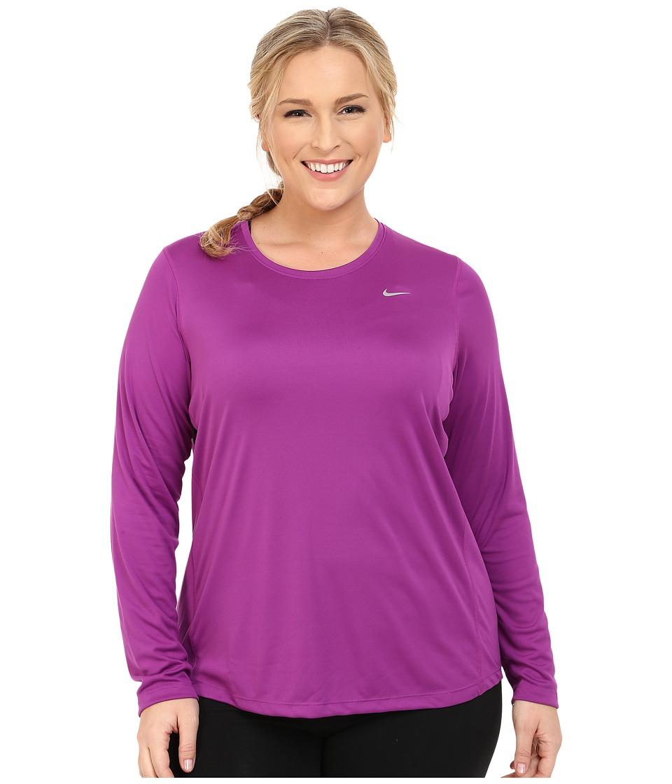 Nike - Miler Long-Sleeve Running Top (Size 1X 2X 3X) (Purple Dusk/Reflective Silver) Women's Long Sleeve Pullover plus size,  plus size fashion plus size appare