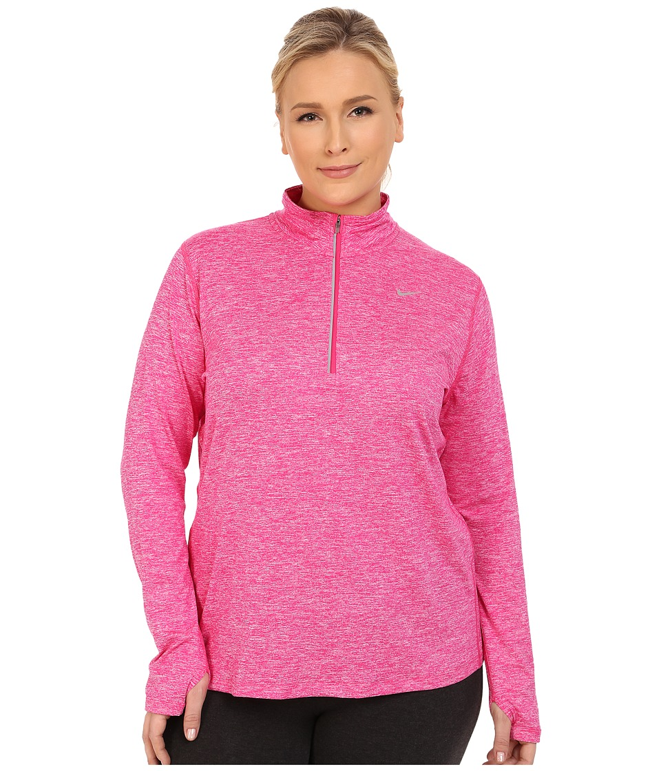Nike - Dri-FIT Extended Element 1/2 Zip (Vivid Pink/Heather/Reflective Silver) Women's Long Sleeve Pullover