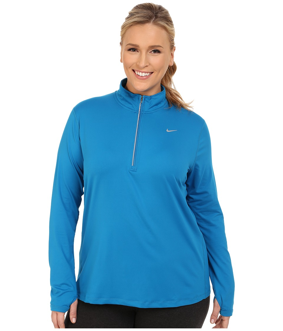 Nike - Dry Element 1/4 Zip Running Top (Size 1X-3X) (Imperial Blue/Reflective Silver) Women's Long Sleeve Pullover