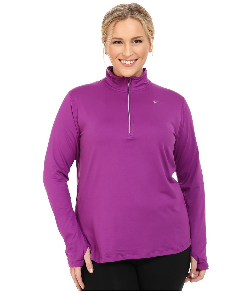 Nike - Dry Element 1/4 Zip Running Top (Size 1X-3X) (Purple Dusk/Reflective Silver) Women's Long Sleeve Pullover