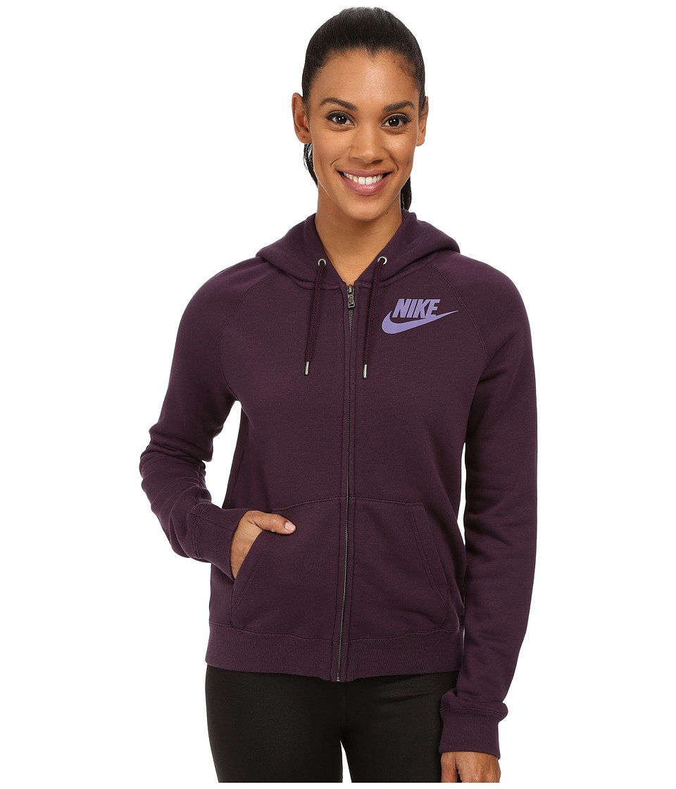 Nike - Rally Full-Zip Hoodie (Noble Purple/Noble Purple/Washed Purple) Women's Sweatshirt