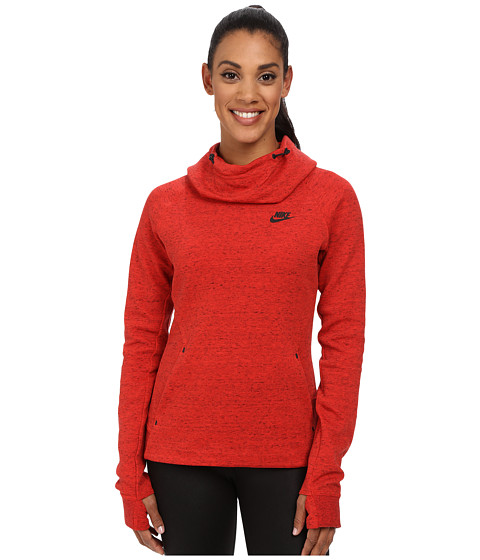 Nike - Tech Fleece Hoodie (Light Crimson/Heather/Black) Women's Sweatshirt