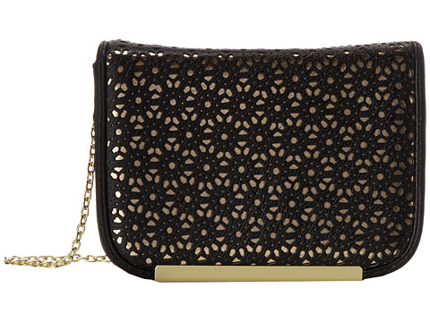 Jessica McClintock - Perforated Mini with Bar (Black) Handbags
