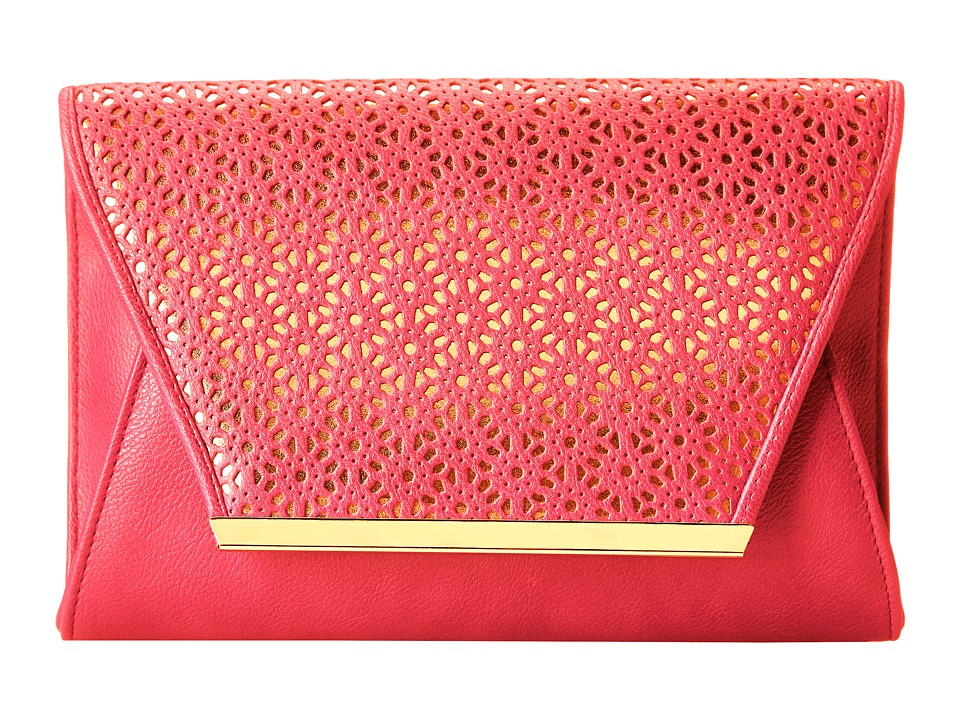 Jessica McClintock - Perforated Envelope Clutch (Pink) Clutch Handbags
