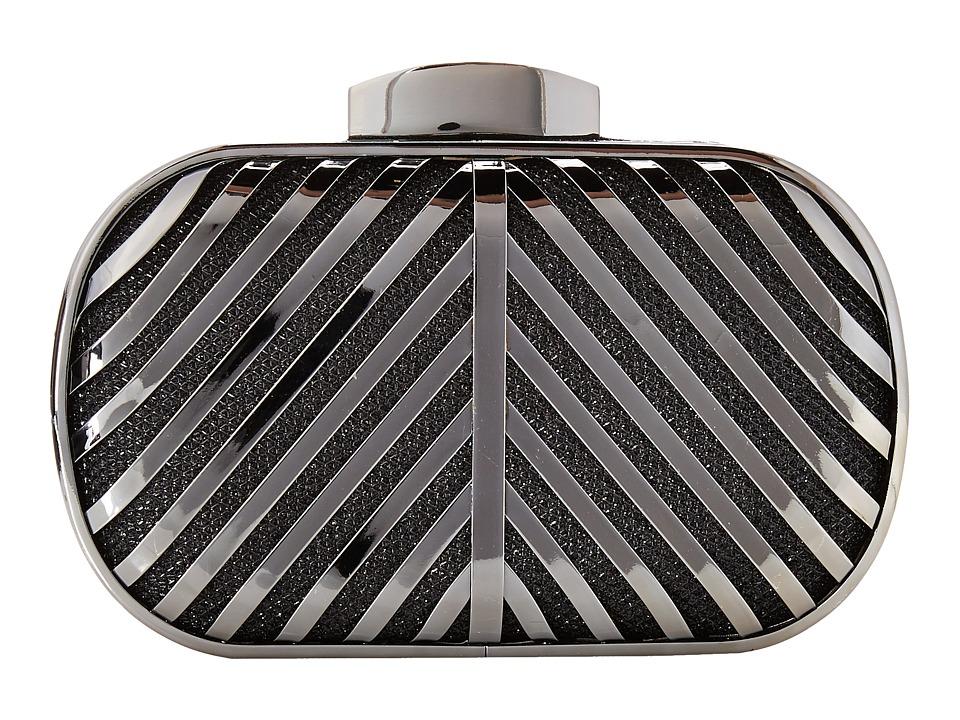 Jessica McClintock - Metallic Lurex Cage Minaudier (Black) Handbags