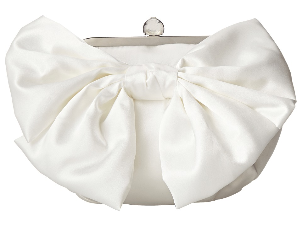 Jessica McClintock - Oversized Bow Pouchette (White) Handbags