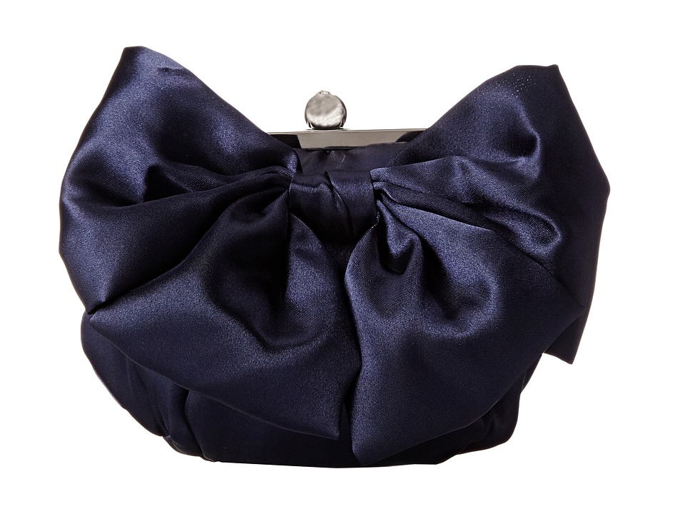 Jessica McClintock - Oversized Bow Pouchette (Navy) Handbags