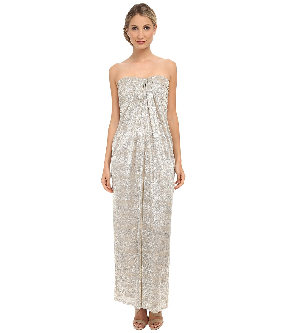 Laundry by Shelli Segal - Foil Crinkle Knit Strapless Gown (Nude) Women's Dress