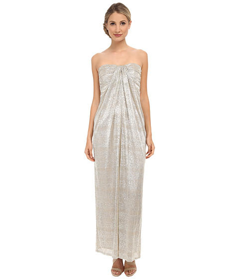 Laundry by Shelli Segal - Foil Crinkle Knit Strapless Gown (Nude) Women