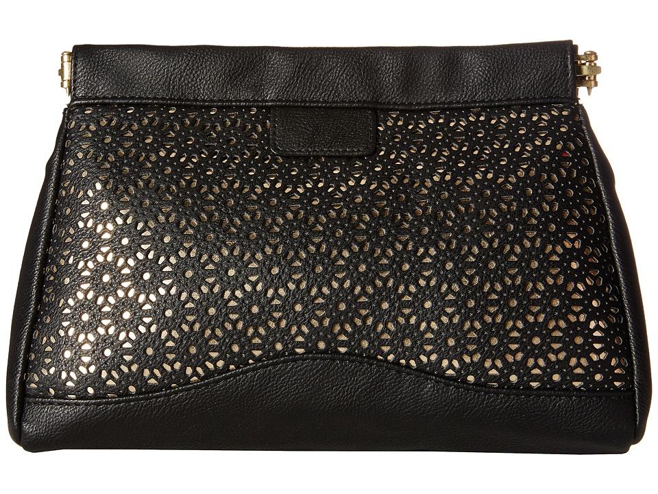 Jessica McClintock - Perforated Frame Clutch (Black) Clutch Handbags
