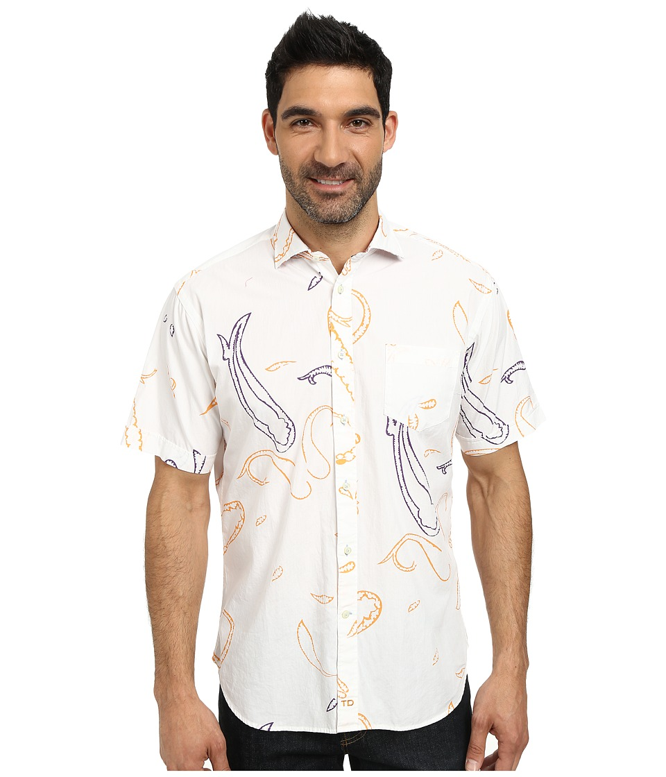 Thomas Dean & Co. - Short Sleeve Woven Open Paisley Print (White) Men's Short Sleeve Button Up