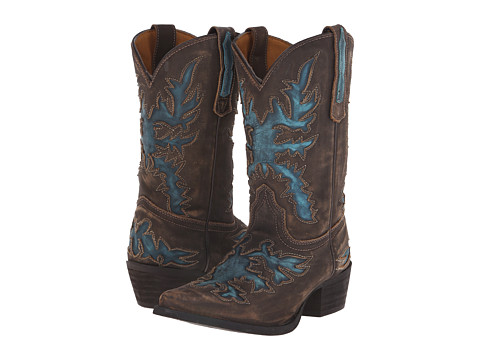 Dan Post Kids - Skippy (Big Kid) (Brown Vintage/Turquoise) Cowboy Boots