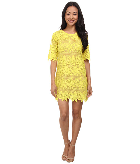 Brigitte Bailey - Angel Lace Short Sleeve Dress (Lemon) Women's Dress