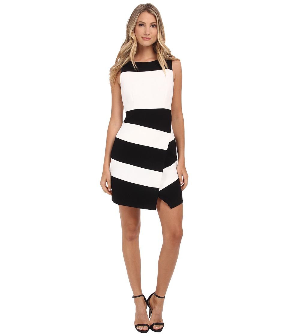 Laundry by Shelli Segal - Textured Crepe Stripe Faux Wrap Sleeveless Dress (Black Multi) Women's Dress