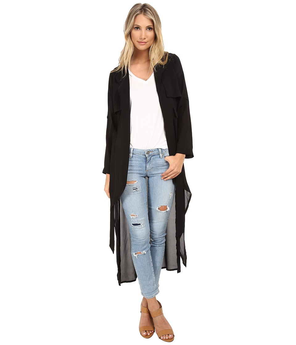 Brigitte Bailey - Belle Chiffon Maxi Jacket (Black) Women's Coat