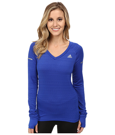 adidas - Sequencials Heathered Long Sleeve Tee (Bold Blue) Women's Workout