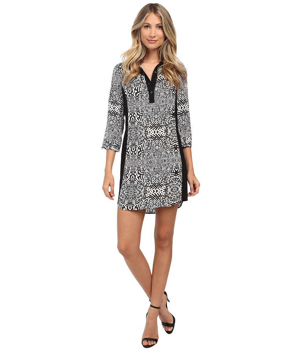 Laundry by Shelli Segal - Printed Shirt Dress (Black Multi) Women's Dress