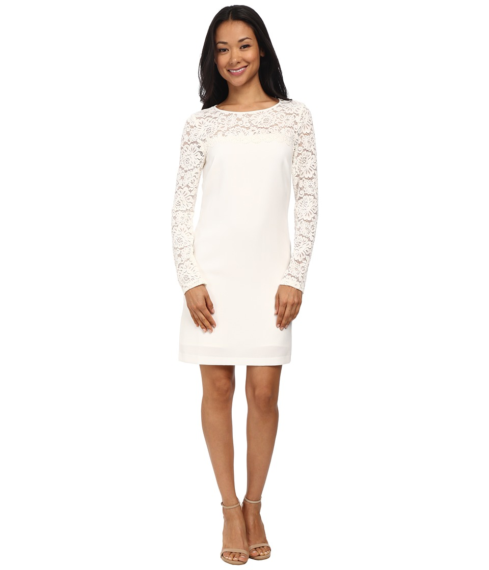 Laundry by Shelli Segal - Lace Blocked Long Sleeve Shift Dress (Warm White) Women