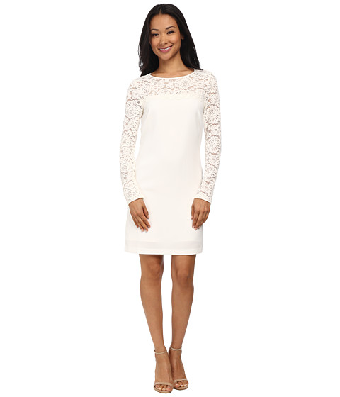 Laundry by Shelli Segal - Lace Blocked Long Sleeve Shift Dress (Warm White) Women