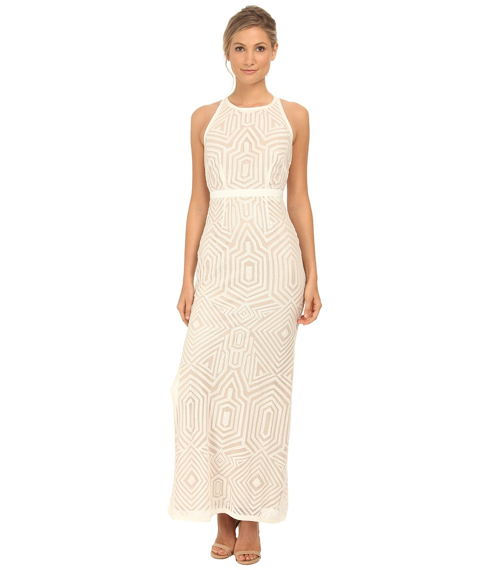 Laundry by Shelli Segal - Embellished Sleeveless Open Back Gown (Warm White) Women's Dress