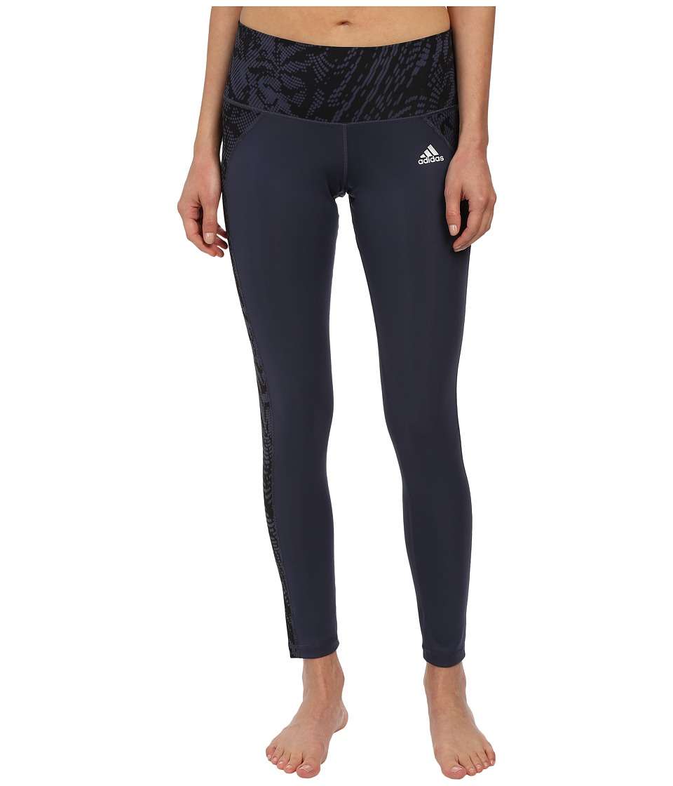 adidas Performer Mid Rise Long Tights Poison Ivy Print (Midnight Grey/Black Print/Matte Silver) Women