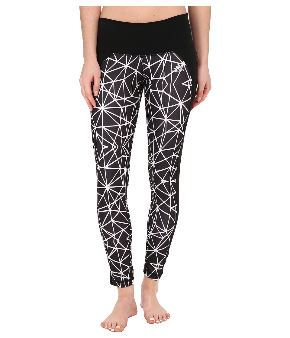 adidas Performer Mid Rise Long Tights Geo Web Print (Black/White Print/Matte Silver) Women
