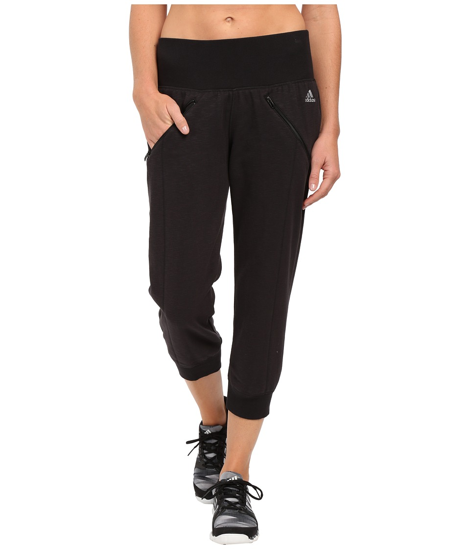 adidas - Cozy Fleece Capri Pants (Black) Women's Capri