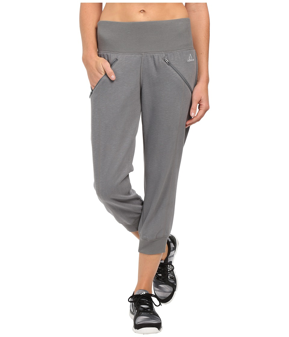 adidas - Cozy Fleece Capri Pants (Vista Grey) Women's Capri