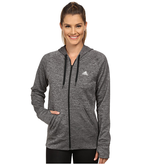 adidas - Team Issue Fleece Full-Zip Hoodie (Dark Grey Heather/Black/Matte Silver) Women's Sweatshirt