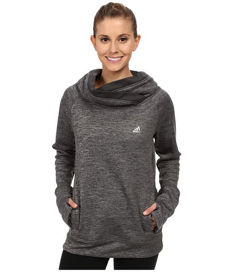 adidas - Team Issue Fleece Exaggerated Mock Pullover (Dark Grey Heather/Dark Grey/Matte Silver) Women